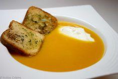Marchewkowy krem z miodem i czosnkowymi grzankami Chili, Eggs, Breakfast, Food, Kitchens, Morning Coffee, Chile, Essen, Egg