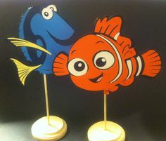 Finding Nemo and Dori centerpieces I've made with my cricut machine
