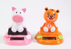 Pig & Orange Tiger Sitting On Log Chinese Zodiac Dashboard Home Gift Solar Toy