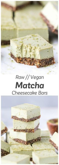 Raw Matcha Cheesecake Bars Recipe - clean, light and nutritious, these cheesecake bars taste creamy and delicious. via Raw Matcha Cheesecake Bars Recipe - clean, light and nutritious, these cheesecake bars taste creamy and delicious. Cake Vegan, Raw Vegan Desserts, Raw Cake, Raw Vegan Recipes, Vegan Dessert Recipes, Vegan Sweets, Healthy Sweets, Tea Recipes, Healthy Baking