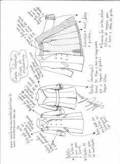 Sobretudo com transpasse - DIY- marlene mukai - molde infantil, Costume Patterns, Dress Sewing Patterns, Sewing Patterns Free, Free Sewing, Dress Design Sketches, Theatre Costumes, Couture Details, Sewing Basics, Design Your Own
