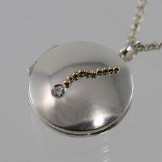 Locket Falling Star 14K Sm Diamond 18 by LaineBenthalldesigns, $304.00
