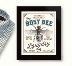 Honey Bee Art Laundry Sign Room Decor Washroom Beekeeper Vintage Style Art Bumble Bee London England Print Decor Bathroom Art Busy Bee