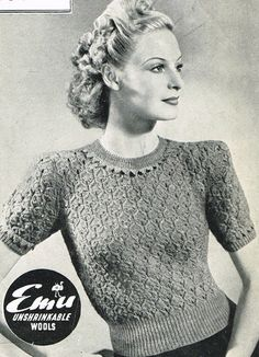 Vintage knitting patterns- vintage 1940s knitting pattern for pretty lace stitch jumper