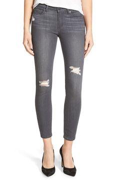 Paige Denim 'Transcend - Verdugo' Ankle Skinny Jeans (Luna Grey Destructed) available at #Nordstrom