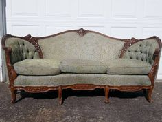 Louis 15th Provincial Style Antique Sofa 3 Piece Hand Carved American 150