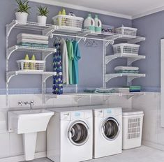 small laundry room organization ideas Double the Function - Room Design Laundry Room Shelves, Basement Laundry, Small Laundry Rooms, Laundry Closet, Laundry Room Organization, Laundry Room Design, Basement Storage, Bathroom Closet, Storage Room