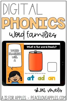 Practice word families with short vowels using these DIGITAL activities for PowerPoint, Goodle Slides, and the Seesaw app.
