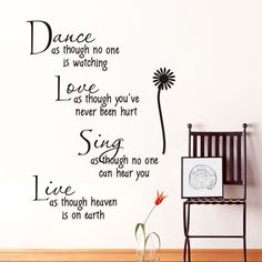price error - dance as though no one is watching love quote wall decals removable pvc wall stickers home decor bedroom diy wall art -- Read more at the image link. (This is an affiliate link) Wall Stickers Quotes, Vinyl Quotes, Wall Stickers Home Decor, Wall Stickers Murals, Wall Art Quotes, Quote Wall, Wall Decor, Removable Vinyl Wall Decals, Vinyl Wall Art