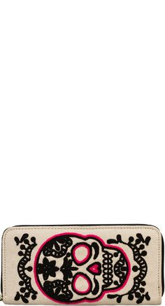 Loungefly Sugar Skull Wallet in Black/Pink | Blame Betty