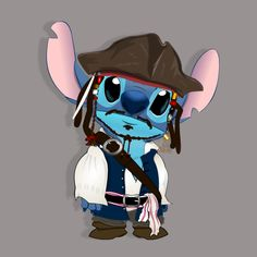 Captain Stitch by Luckysas on DeviantArt Disney Stitch, Lilo And Stitch, Disney Artwork, Baby Unicorn, Cute Anime Character, Anime Characters, Fictional Characters, Kawaii Drawings, Toothless
