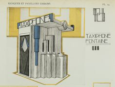 Design for a kiosk comprising a taxi telephone and a fountain 'Exposition… Estilo Art Deco, Telephone Booth, Information Design, Taxi, World's Fair, Fun At Work, Printing Services, Decor Styles, Fountain