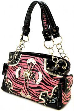 Pink Black Cross Zebra Print Purse only $39.99