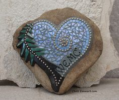 Custom Mosaic Heart Rock