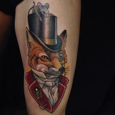 Fox Top Hat Tattoo by Eilo Martin