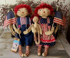 Primitive Americana Art Dolls Raggedy Ann and Andy