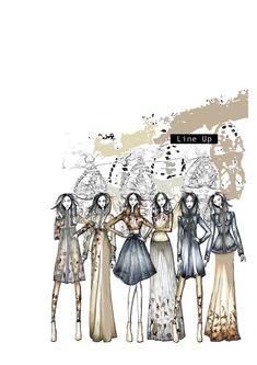 The Evolution of Consciousness Fashion Sketchbook - fashion illustrations; line up; Fashion Illustration Portfolio, Fashion Design Portfolio, Fashion Illustration Dresses, Fashion Illustrations, Art Portfolio, Fashion Sketchbook, Fashion Sketches, Sketchbook Layout, Fashion Art