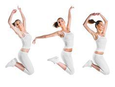Fit, beautiful, young woman jumping, three poses