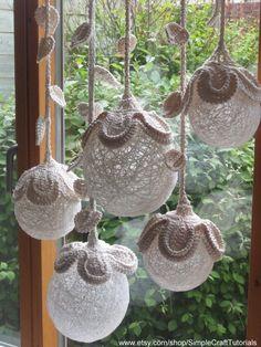 Burlap fowers for wedding - Burlap wedding Flower Ball Decor, Crochet Pattern Tutorial, Rustic Wedding Light Decoration