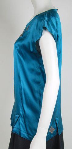 f6f50fd665d0b Vintage 1980s Jean Muir Blue Silk Top w Geometric Applique Size 8 | eBay  Jean Muir
