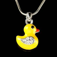 Swarovski Crystal Yellow DUCK Easter DUCKIE Ducky Charm Pendant Necklace Cute New Christmas Birthday Gift