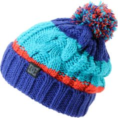 DC Girls Elm Blue, Teal Coral 2013 Pom Beanie ($25) ❤ liked on Polyvore