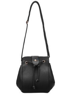 Black Drawstring Tassel Satchel Bag 13.00