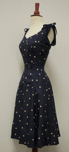 ~Navy Blue Polka Dot Sundress, c. 1940s~ [Check out the scalloped edge on the bodice! - MS]