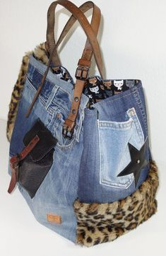 Leather Patchwork Tote Bag in Black and Gold (Butterscotch) Leathers - Handmade Hand Stitched OOAK with Leopard Print Calf by Stacy Leigh Diy Jeans, Recycle Jeans, Jeans Denim, Denim Tote Bags, Denim Purse, Jean Purses, Purses And Bags, Denim Ideas, Denim Crafts