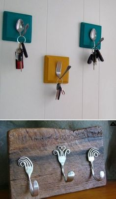 Create wall hooks from spoons and forks . Create wall hooks from spoons and forks In modern cities, it is nearly impossible to. Diy Home Crafts, Wood Crafts, Fun Crafts, Diy Home Decor, Arts And Crafts, Diy Wand, Diy Para A Casa, Silverware Art, Diy Kitchen