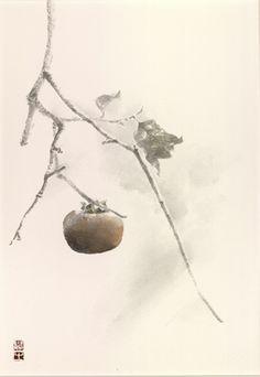 柿 水墨画