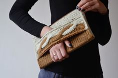 Hand knitted clutch bag // Knitted clutch in brown - $68. #LetsCurate #Ukraine