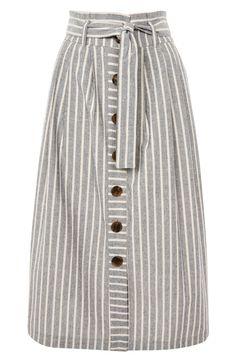 Stripe Tie Waist Midi Skirt,                          Alternate,                          color, Grey Multi