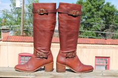 Womens COACH Saxton Tall Brown Leather  Boots  Size 6B made in Italy #Coach #FashionKneeHigh