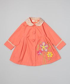 This Coral Daisy Coat - Toddler & Girls is perfect! #zulilyfinds