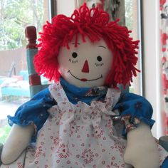 """19"""" Raggedy Ann Cloth Doll - 1950's Vintage Design - pinned by pin4etsy.com"""