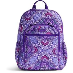 Vera Bradley Campus Tech Backpack in Lilac Tapestry ($108) ❤ liked on Polyvore featuring bags, backpacks, lilac tapestry, quilted bags, vera bradley bags, zipper bag, purple backpack and tapestry backpack