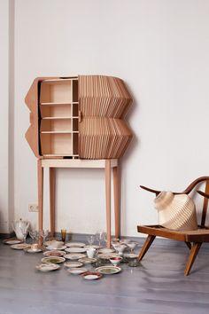 munchkins /// furniture + accordion cabinet, 2011 /// collaboration with elisa strozyk + artist sebastian neeb Wooden Furniture, Cool Furniture, Furniture Design, Cabinet Furniture, Origami Design, Console Table, Shelves, Interior Design, Product Design