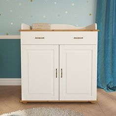 Fiore solid white pine wood Baby Changing Unit Nursery furniture