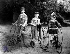 Children on bikes, 1900-----> Wiktor Rączkiewicz, Aleksander Rączkiewicz and Lubomira Ott 1907