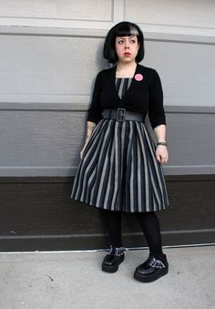 Goth Style: Lindy Bop striped dress and Demonia Bat Creepers - an OOTD on Betties N Brimstone blog - be sure to share/re-pin for fashion inspiration/reference!