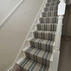Example of how to replace carpet with an inexpensive stair runner 27 Stairway Carpet, Hallway Carpet, Hallway Flooring, Cottage Hallway, Striped Carpets, Striped Carpet Stairs, Hallway Colours, Flur Design, Diy Carpet
