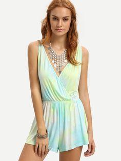 Shop Multicolor Tie-dye Wrap Front Crisscross Back Romper online. SheIn offers Multicolor Tie-dye Wrap Front Crisscross Back Romper & more to fit your fashionable needs.