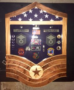 Custom Air Force MSgt shadow box.  If interested in a shadow box, flag case, coin rack or authentic else, contact Tom at jenkswood@gmail.com