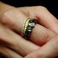 """CRAZY HORSE"" RAW DIAMOND RING (YELLOW) by L'Dezen by Payal Shah, Raw Diamond, Champagne Diamond, Diamond & 18K Yellow Gold Ring. Plukka"