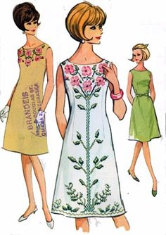 1950s shift dresses from a vintage sewing pattern