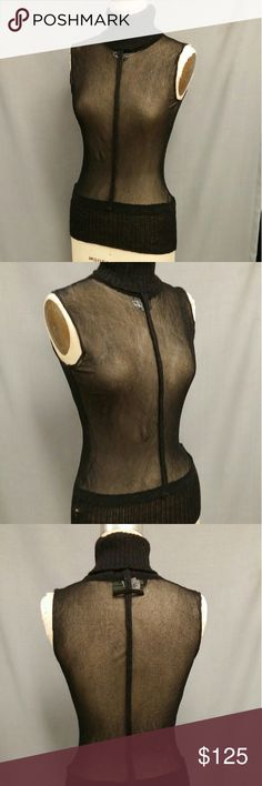 """GAULTIER Maille Sheer Turtleneck Top Sweater LARGE Super sexy!! This top is by Gaultier Maille and was made in Italy. Interesting seaming details. Flawless condition. Labeled size LARGE. Bust: up to 40"""" comfortably. Length: 25"""". Jean Paul Gaultier Sweaters Cowl & Turtlenecks"""