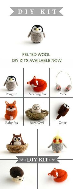 Check out these adorable DIY kits made with felted wool. Comes with everything you need to make 4 animals. Great Christmas gift for the crafter in your family! #ad #DIYkit #feltanimalsdiy