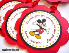 Mickey Mouse Birthday Party Favor Tags