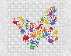 Fun cross stitch pattern of a butterfly made up of splashes of splattered paint. A bright and modern stitch.  • Stitch count: 80 wide x 75 high • Approximate size on 14 count aida: 5.7in wide x 5.4in high (14.5cm wide x 13.6cm high) • 6 colours, DMC numbers given • Uses full cross stitches; no backstitch or fractional stitches • Stitch on fabric of your colour choice (image is shown on white fabric) • Suitable for all skill levels including beginner  You will receive three PDF instant…